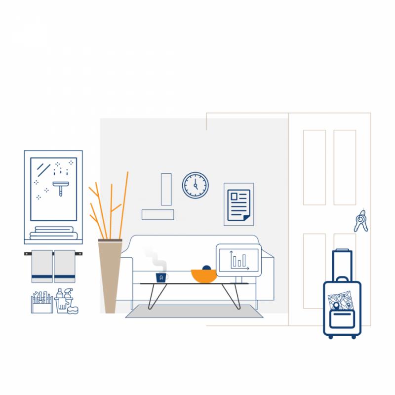 Dibujo vectorial reflejando la gestión integral que realiza tuAnfitrion: limpieza, orden, entrega de llaves...
