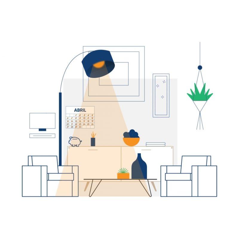 Dibujo vectorial de una salón de una casa.